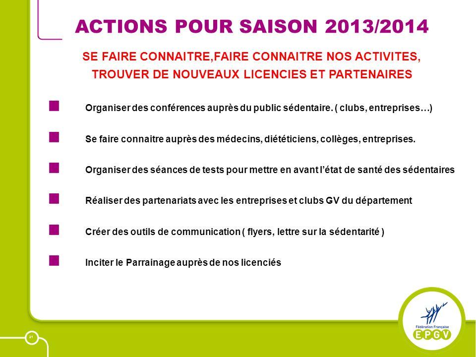 31 ACTIONS POUR SAISON 2013/2014 Organiser des conférences auprès du public sédentaire. ( clubs, entreprises…) Se faire connaitre auprès des médecins,