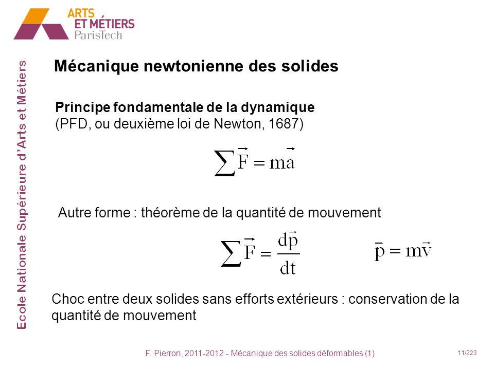 F. Pierron, 2011-2012 - Mécanique des solides déformables (1) 11/223 Mécanique newtonienne des solides Principe fondamentale de la dynamique (PFD, ou