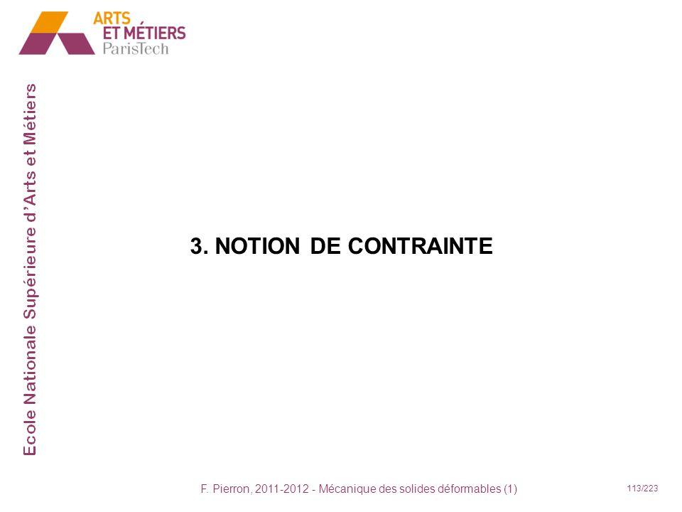F. Pierron, 2011-2012 - Mécanique des solides déformables (1) 113/223 3. NOTION DE CONTRAINTE