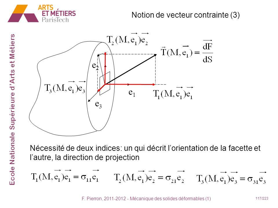 F. Pierron, 2011-2012 - Mécanique des solides déformables (1) 117/223 Notion de vecteur contrainte (3) e1e1 e3e3 e2e2 Nécessité de deux indices: un qu