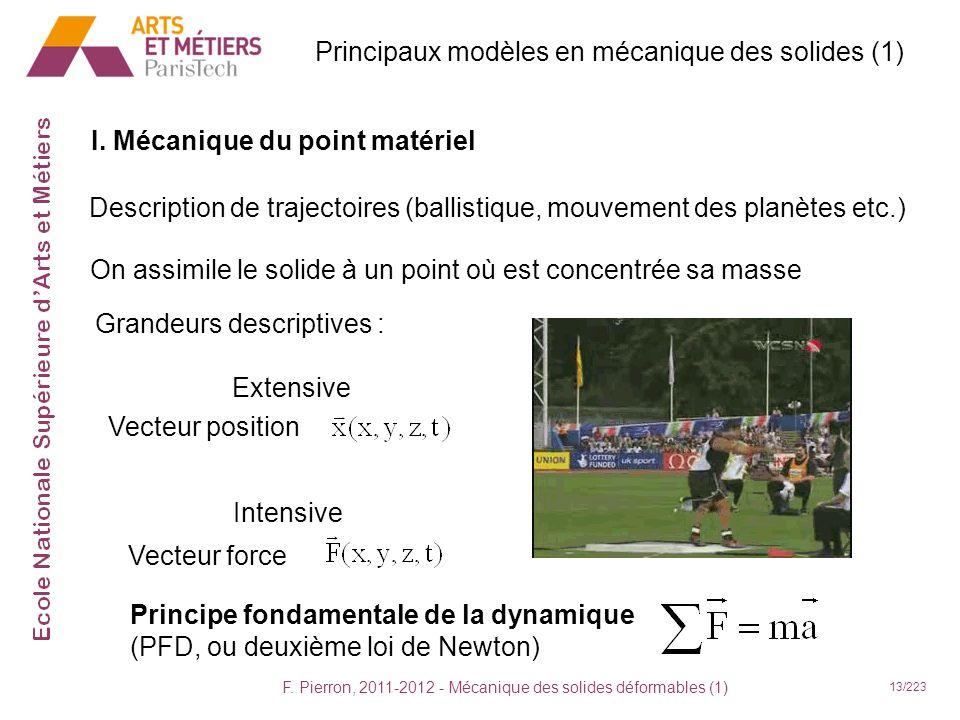 F. Pierron, 2011-2012 - Mécanique des solides déformables (1) 13/223 Principaux modèles en mécanique des solides (1) I. Mécanique du point matériel De