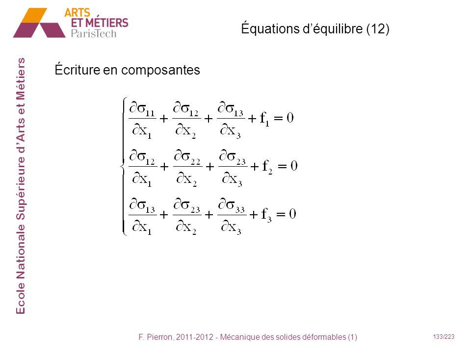 F. Pierron, 2011-2012 - Mécanique des solides déformables (1) 133/223 Équations déquilibre (12) Écriture en composantes