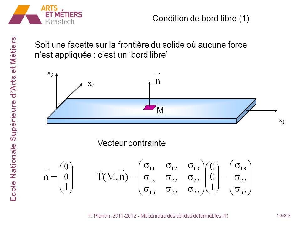 F. Pierron, 2011-2012 - Mécanique des solides déformables (1) 135/223 Condition de bord libre (1) Soit une facette sur la frontière du solide où aucun