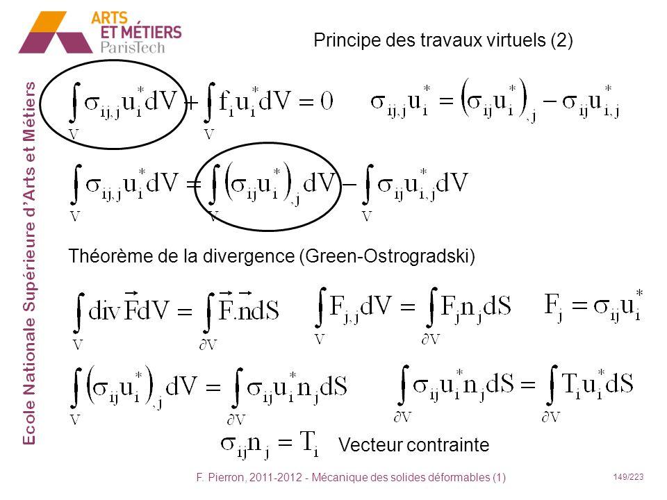 F. Pierron, 2011-2012 - Mécanique des solides déformables (1) 149/223 Principe des travaux virtuels (2) Théorème de la divergence (Green-Ostrogradski)