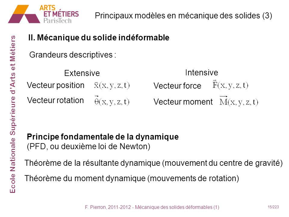 F. Pierron, 2011-2012 - Mécanique des solides déformables (1) 15/223 II. Mécanique du solide indéformable Grandeurs descriptives : Extensive Intensive