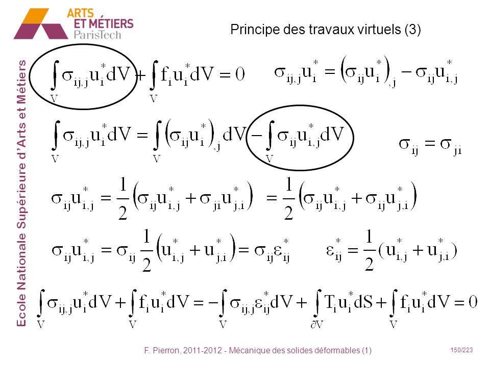 F. Pierron, 2011-2012 - Mécanique des solides déformables (1) 150/223 Principe des travaux virtuels (3)