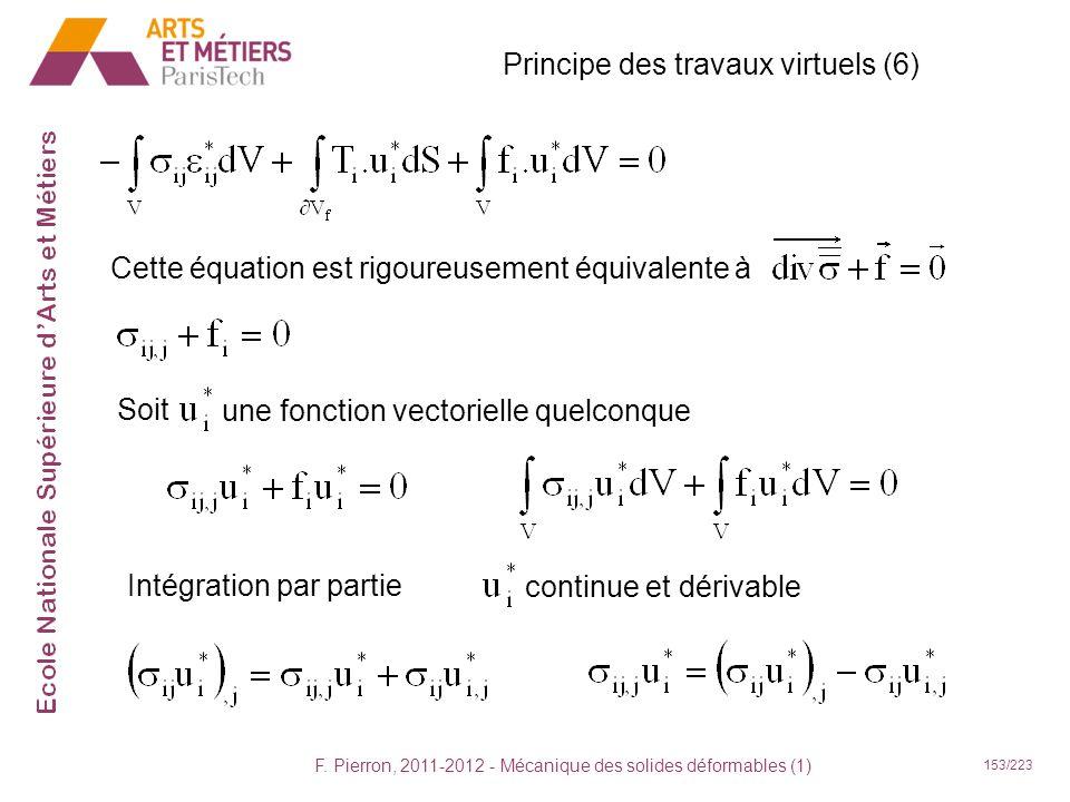 F. Pierron, 2011-2012 - Mécanique des solides déformables (1) 153/223 Principe des travaux virtuels (6) Cette équation est rigoureusement équivalente