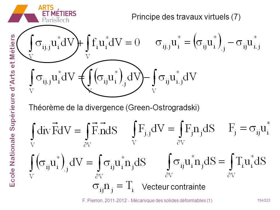 F. Pierron, 2011-2012 - Mécanique des solides déformables (1) 154/223 Principe des travaux virtuels (7) Théorème de la divergence (Green-Ostrogradski)