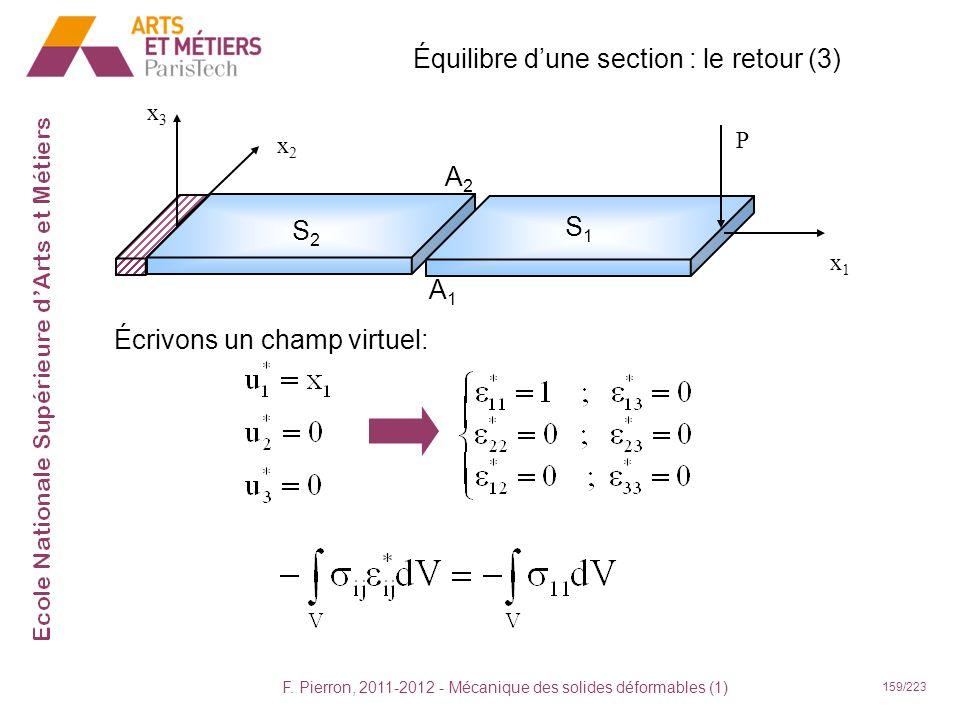 F. Pierron, 2011-2012 - Mécanique des solides déformables (1) 159/223 Équilibre dune section : le retour (3) x1x1 x2x2 x3x3 P S2S2 S1S1 A2A2 A1A1 Écri