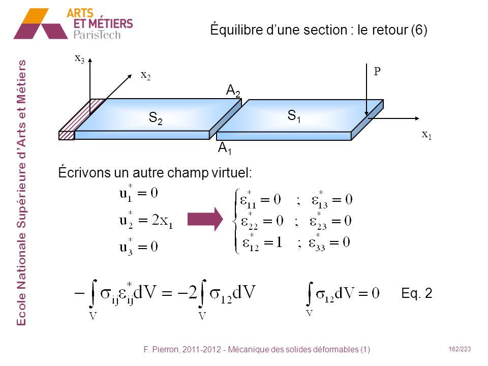 F. Pierron, 2011-2012 - Mécanique des solides déformables (1) 162/223 Équilibre dune section : le retour (6) x1x1 x2x2 x3x3 P S2S2 S1S1 A2A2 A1A1 Écri
