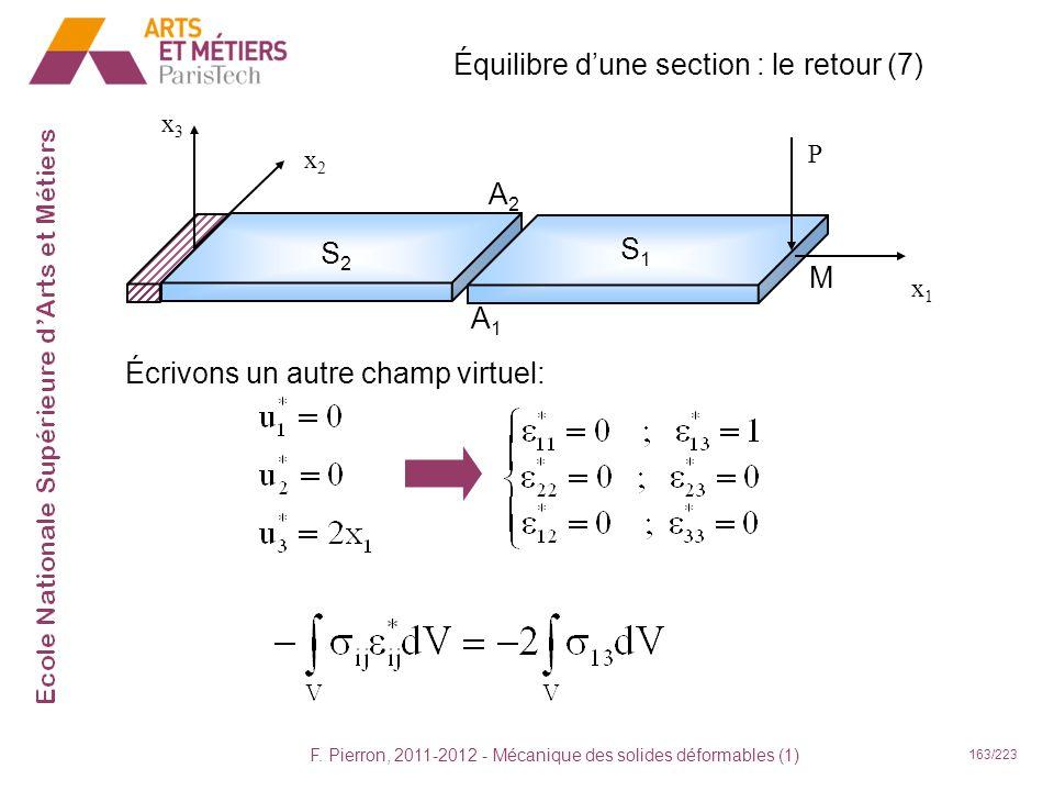 F. Pierron, 2011-2012 - Mécanique des solides déformables (1) 163/223 Équilibre dune section : le retour (7) x1x1 x2x2 x3x3 P S2S2 S1S1 A2A2 A1A1 Écri