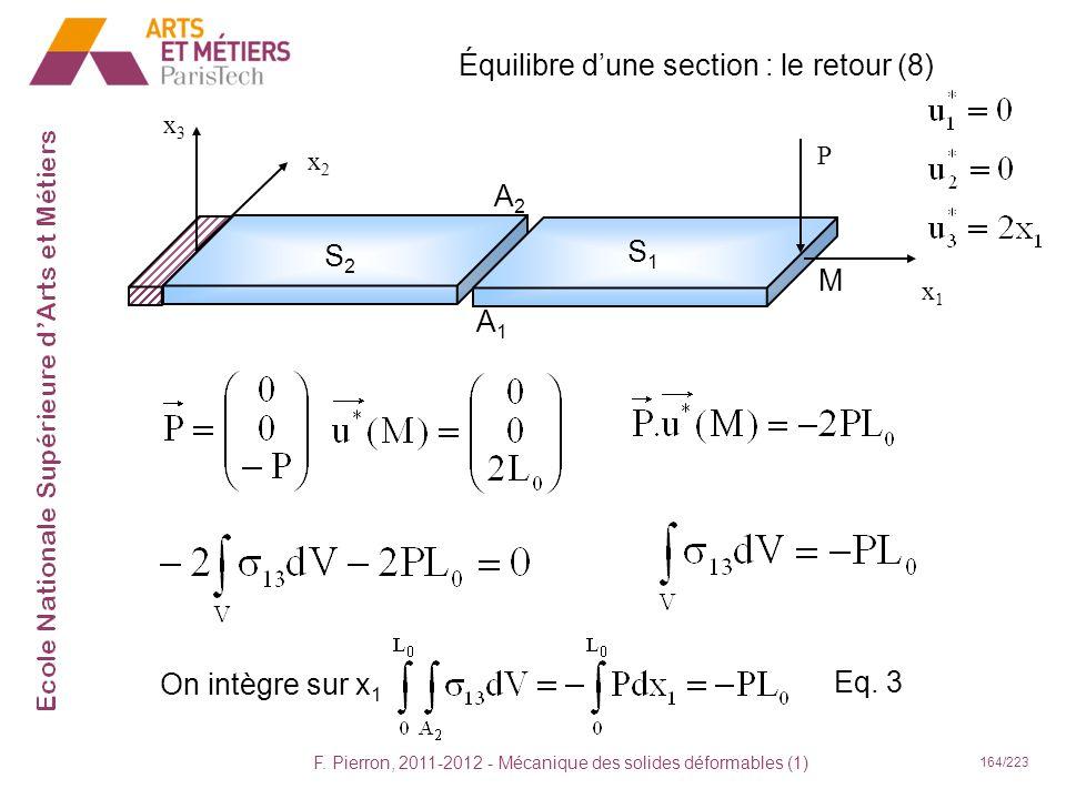 F. Pierron, 2011-2012 - Mécanique des solides déformables (1) 164/223 Équilibre dune section : le retour (8) x1x1 x2x2 x3x3 P S2S2 S1S1 A2A2 A1A1 M On