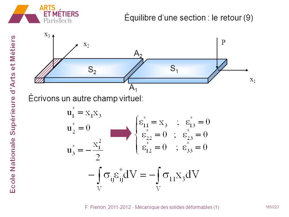 F. Pierron, 2011-2012 - Mécanique des solides déformables (1) 165/223 Équilibre dune section : le retour (9) x1x1 x2x2 x3x3 P S2S2 S1S1 A2A2 A1A1 Écri