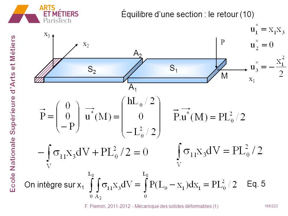 F. Pierron, 2011-2012 - Mécanique des solides déformables (1) 166/223 Équilibre dune section : le retour (10) x1x1 x2x2 x3x3 P S2S2 S1S1 A2A2 A1A1 M O