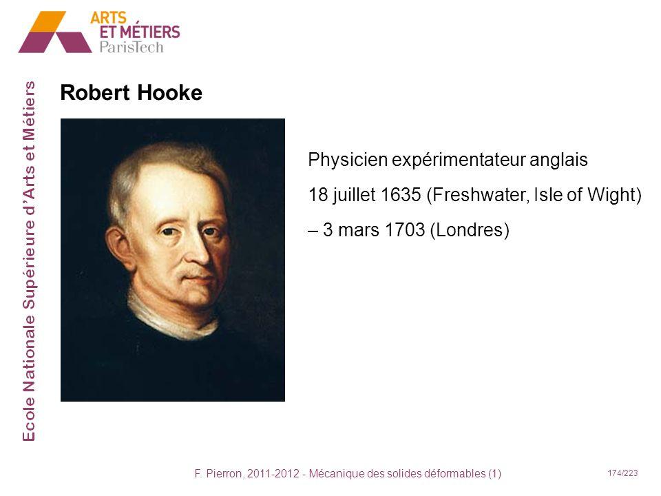 F. Pierron, 2011-2012 - Mécanique des solides déformables (1) 174/223 Robert Hooke Physicien expérimentateur anglais 18 juillet 1635 (Freshwater, Isle