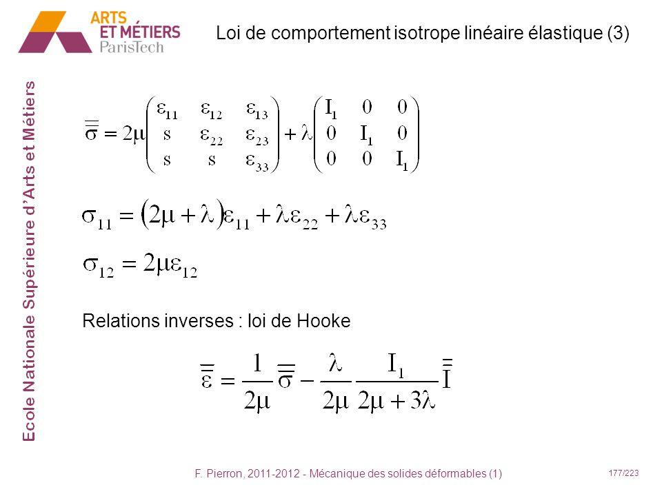 F. Pierron, 2011-2012 - Mécanique des solides déformables (1) 177/223 Relations inverses : loi de Hooke Loi de comportement isotrope linéaire élastiqu