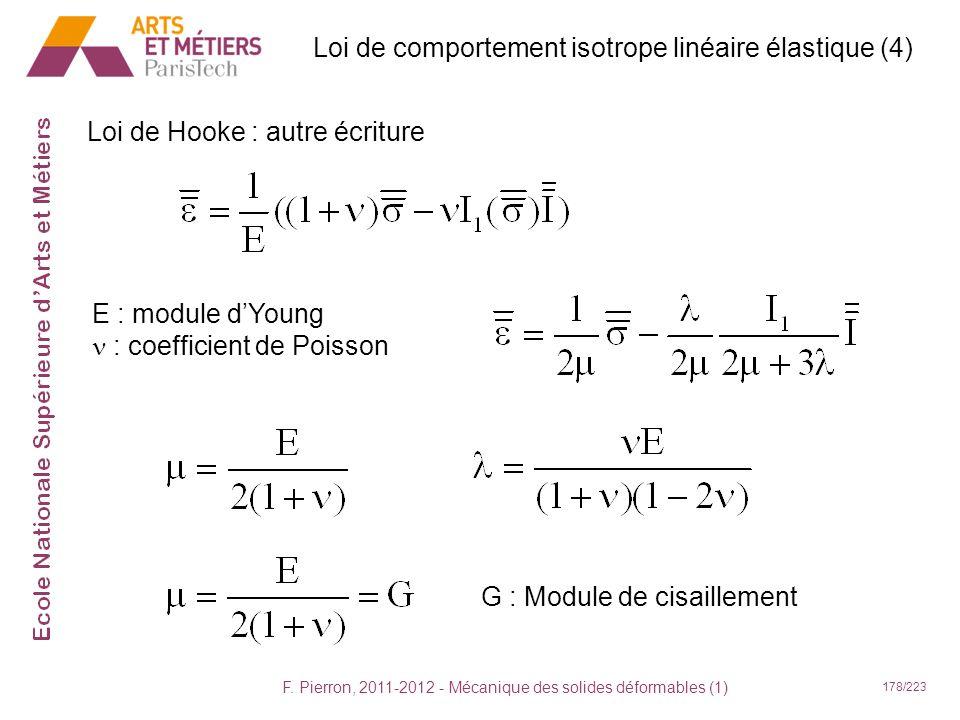 F. Pierron, 2011-2012 - Mécanique des solides déformables (1) 178/223 Loi de Hooke : autre écriture E : module dYoung : coefficient de Poisson G : Mod