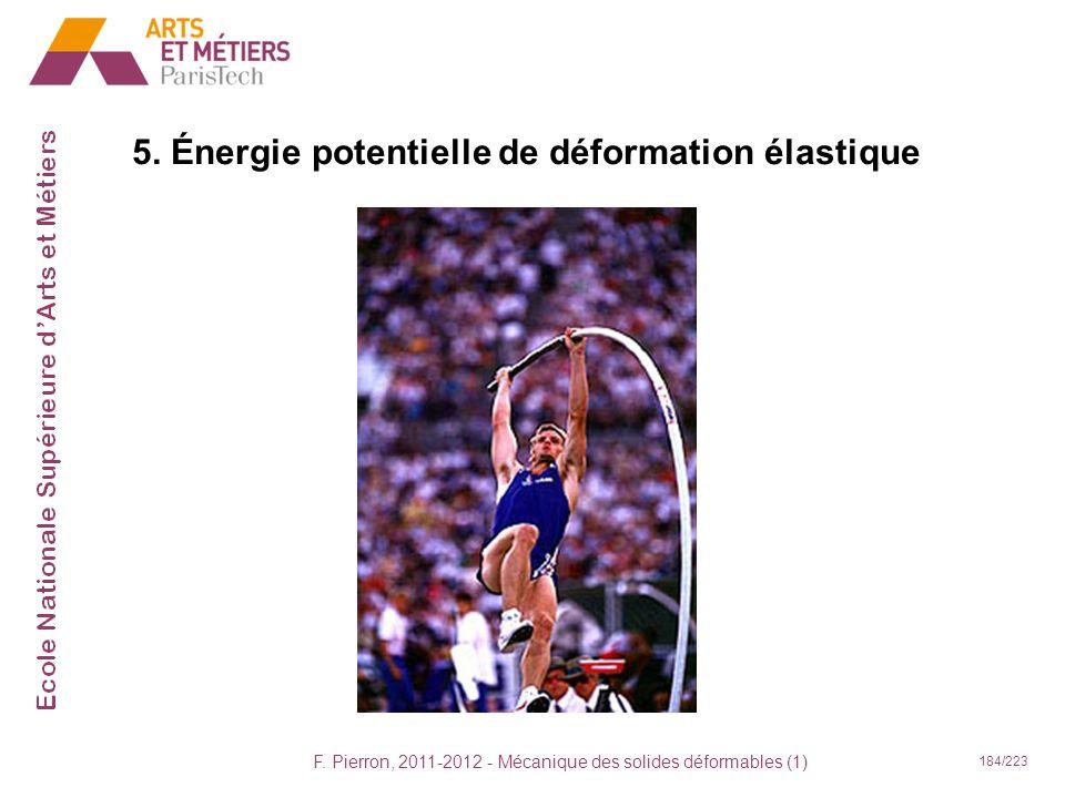 F. Pierron, 2011-2012 - Mécanique des solides déformables (1) 184/223 5. Énergie potentielle de déformation élastique