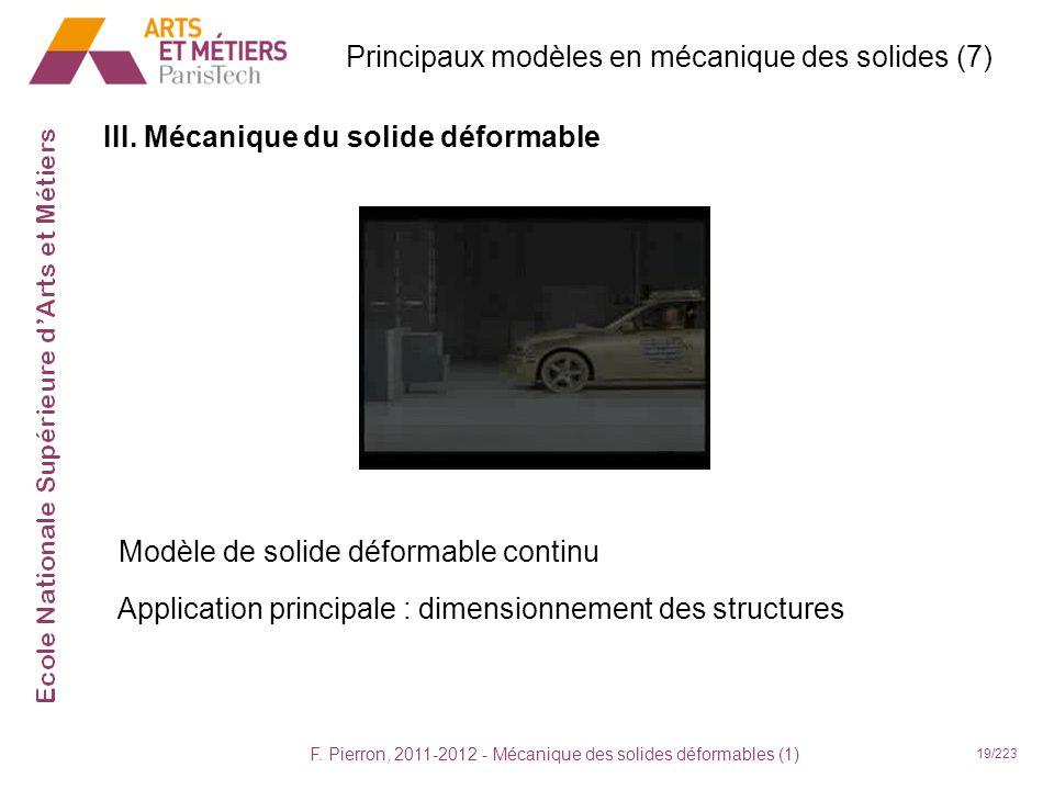 F. Pierron, 2011-2012 - Mécanique des solides déformables (1) 19/223 III. Mécanique du solide déformable Principaux modèles en mécanique des solides (
