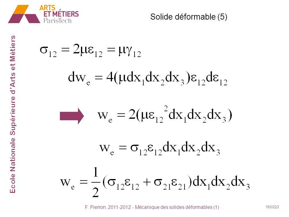 F. Pierron, 2011-2012 - Mécanique des solides déformables (1) 194/223 Solide déformable (6)