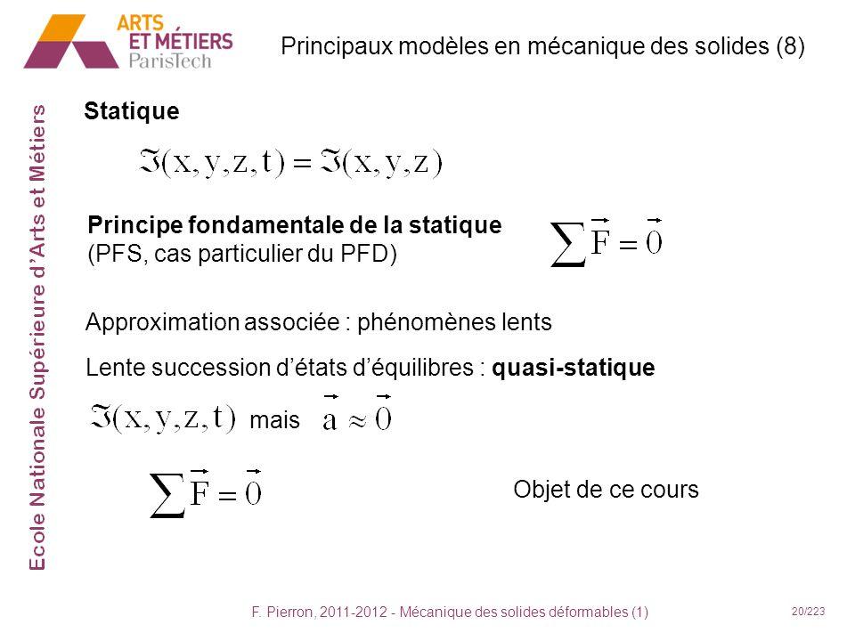 F. Pierron, 2011-2012 - Mécanique des solides déformables (1) 20/223 Statique Principaux modèles en mécanique des solides (8) Principe fondamentale de