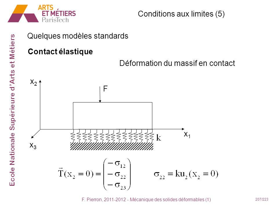 F. Pierron, 2011-2012 - Mécanique des solides déformables (1) 207/223 Conditions aux limites (5) Quelques modèles standards Contact élastique x1x1 x2x