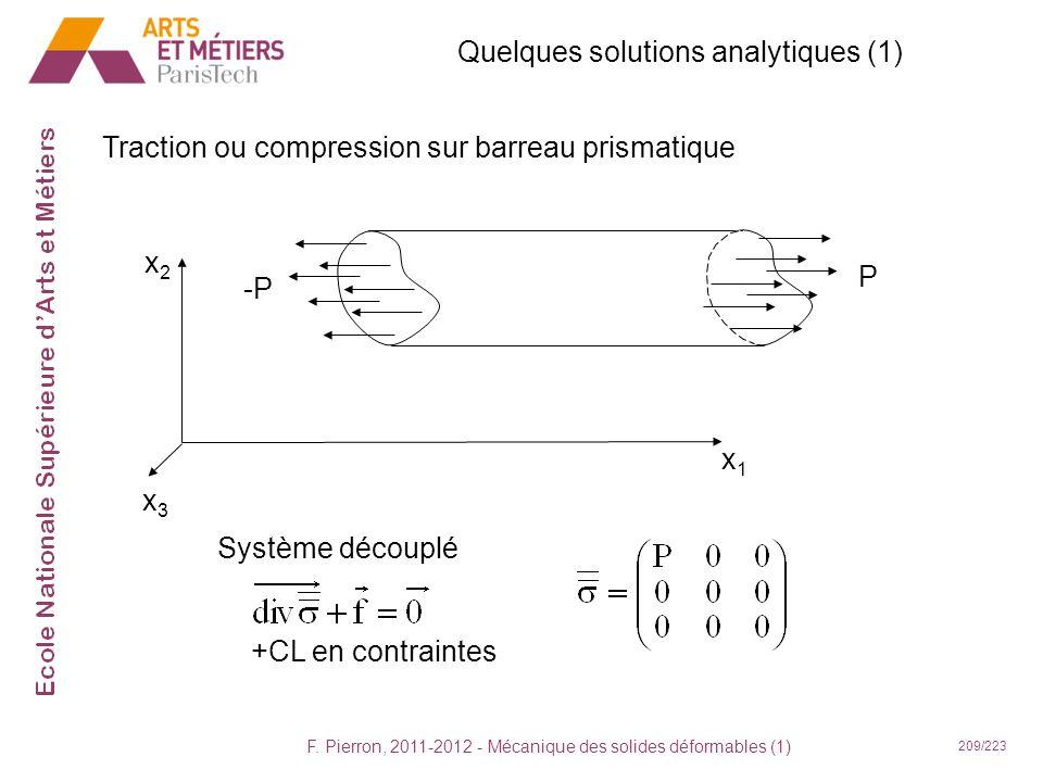 F. Pierron, 2011-2012 - Mécanique des solides déformables (1) 209/223 Quelques solutions analytiques (1) Traction ou compression sur barreau prismatiq