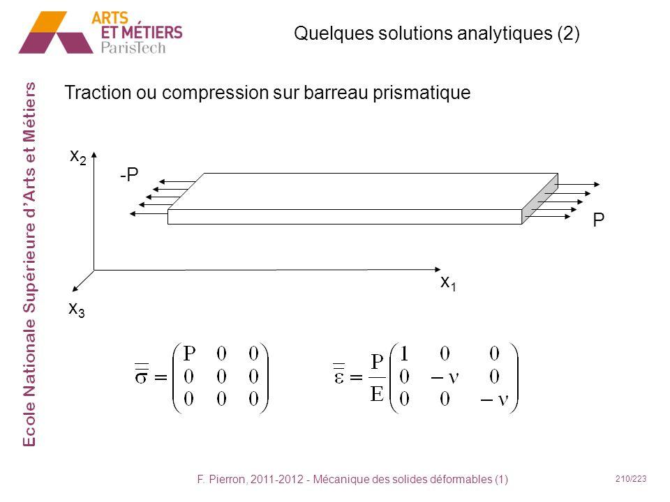 F. Pierron, 2011-2012 - Mécanique des solides déformables (1) 210/223 Quelques solutions analytiques (2) Traction ou compression sur barreau prismatiq