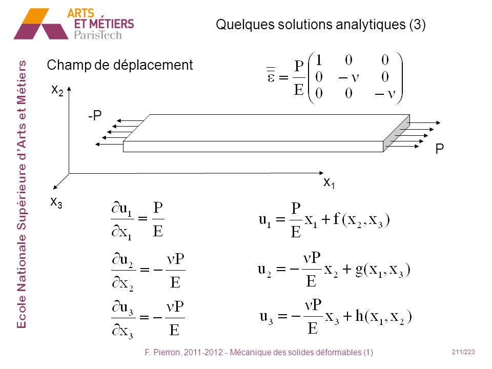F. Pierron, 2011-2012 - Mécanique des solides déformables (1) 211/223 Quelques solutions analytiques (3) Champ de déplacement x1x1 x2x2 x3x3 -P P