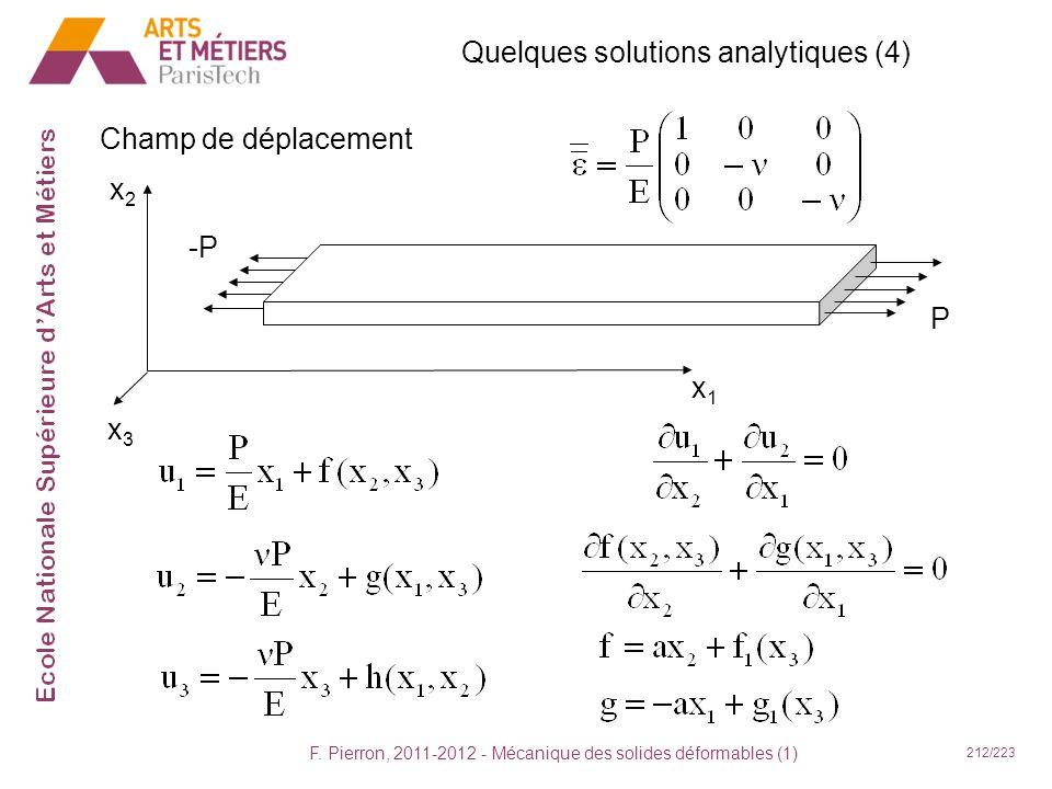 F. Pierron, 2011-2012 - Mécanique des solides déformables (1) 212/223 Quelques solutions analytiques (4) Champ de déplacement x1x1 x2x2 x3x3 -P P