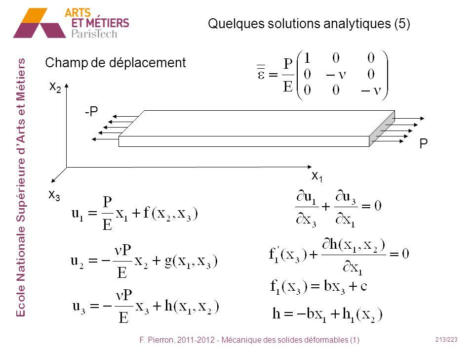 F. Pierron, 2011-2012 - Mécanique des solides déformables (1) 213/223 Quelques solutions analytiques (5) Champ de déplacement x1x1 x2x2 x3x3 -P P
