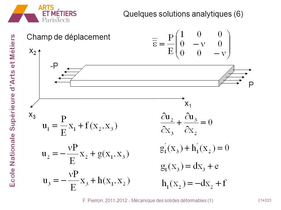 F. Pierron, 2011-2012 - Mécanique des solides déformables (1) 214/223 Quelques solutions analytiques (6) Champ de déplacement x1x1 x2x2 x3x3 -P P