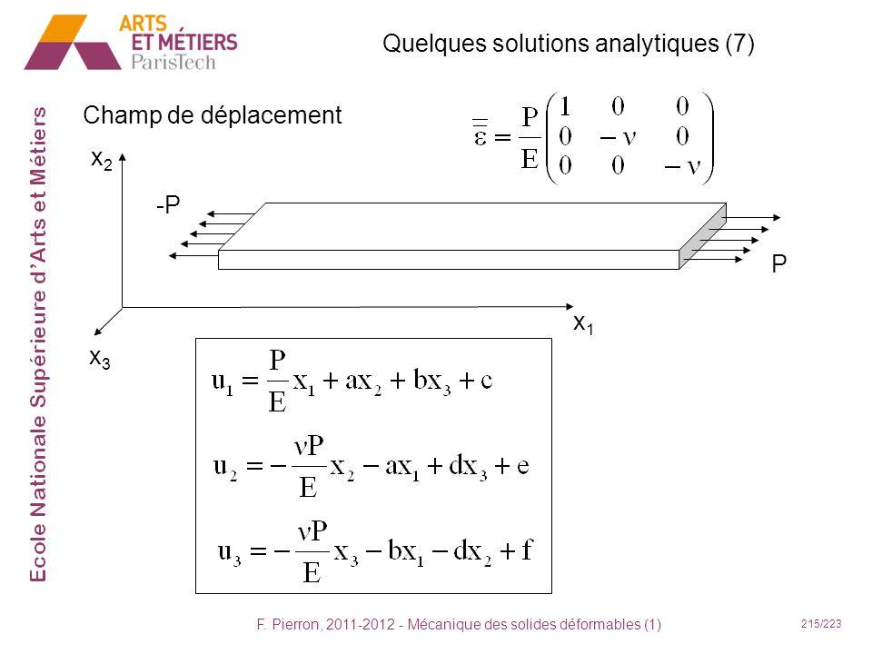 F. Pierron, 2011-2012 - Mécanique des solides déformables (1) 215/223 Quelques solutions analytiques (7) Champ de déplacement x1x1 x2x2 x3x3 -P P