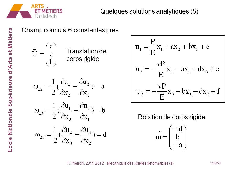 F. Pierron, 2011-2012 - Mécanique des solides déformables (1) 216/223 Quelques solutions analytiques (8) Champ connu à 6 constantes près Translation d