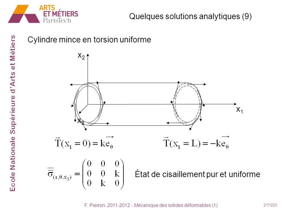 F. Pierron, 2011-2012 - Mécanique des solides déformables (1) 217/223 Quelques solutions analytiques (9) Cylindre mince en torsion uniforme x1x1 x2x2