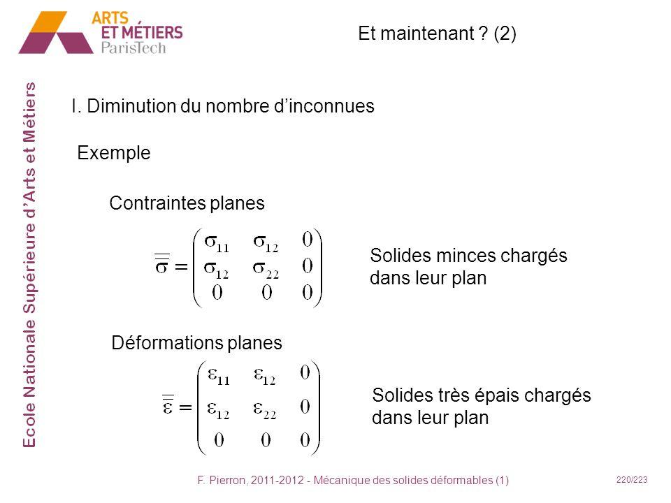 F. Pierron, 2011-2012 - Mécanique des solides déformables (1) 220/223 Et maintenant ? (2) I. Diminution du nombre dinconnues Contraintes planes Solide