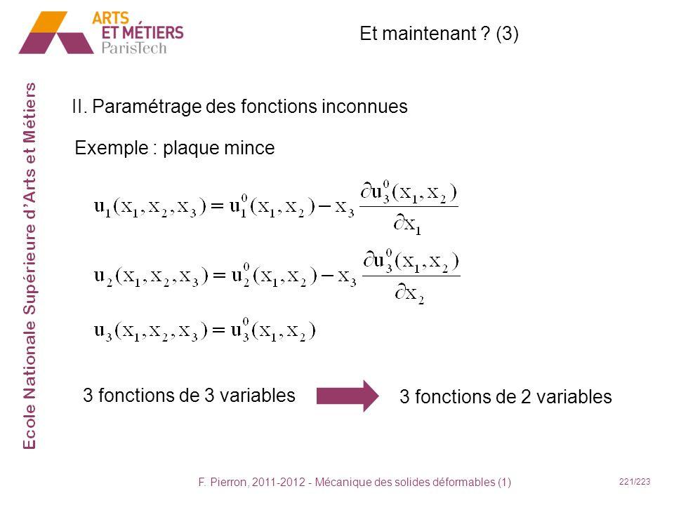 F. Pierron, 2011-2012 - Mécanique des solides déformables (1) 221/223 Et maintenant ? (3) II. Paramétrage des fonctions inconnues Exemple : plaque min