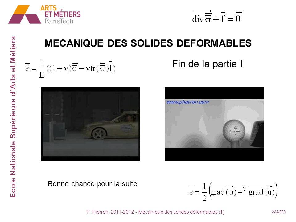 F. Pierron, 2011-2012 - Mécanique des solides déformables (1) 223/223 MECANIQUE DES SOLIDES DEFORMABLES Fin de la partie I Bonne chance pour la suite