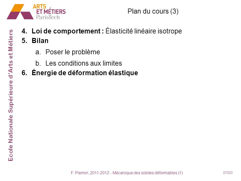 F. Pierron, 2011-2012 - Mécanique des solides déformables (1) 27/223 Plan du cours (3) 4.Loi de comportement : Élasticité linéaire isotrope 5.Bilan a.