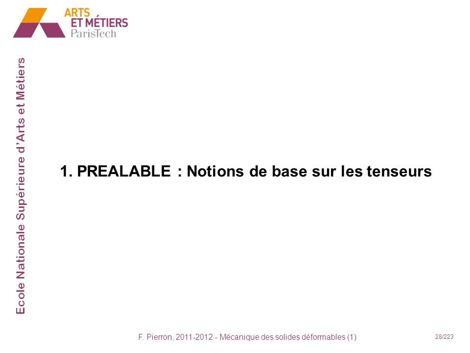 F. Pierron, 2011-2012 - Mécanique des solides déformables (1) 28/223 1. PREALABLE : Notions de base sur les tenseurs