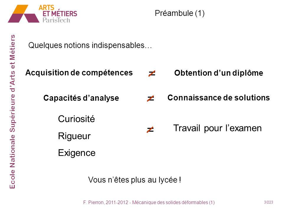 F. Pierron, 2011-2012 - Mécanique des solides déformables (1) 3/223 Préambule (1) Acquisition de compétences Obtention dun diplôme = Capacités danalys