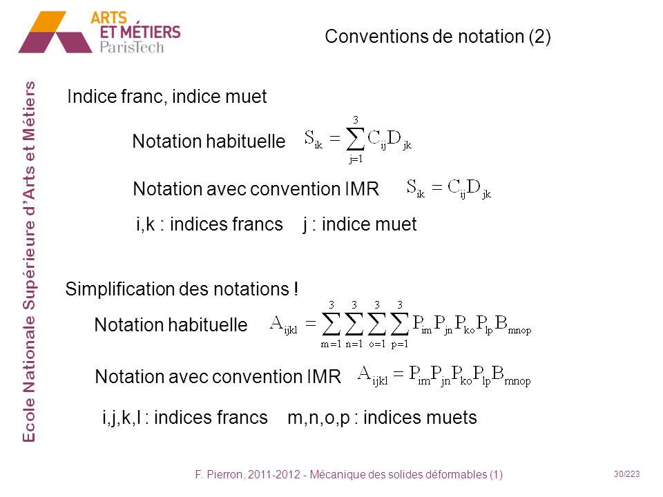 F. Pierron, 2011-2012 - Mécanique des solides déformables (1) 30/223 Conventions de notation (2) Indice franc, indice muet Notation habituelle i,k : i