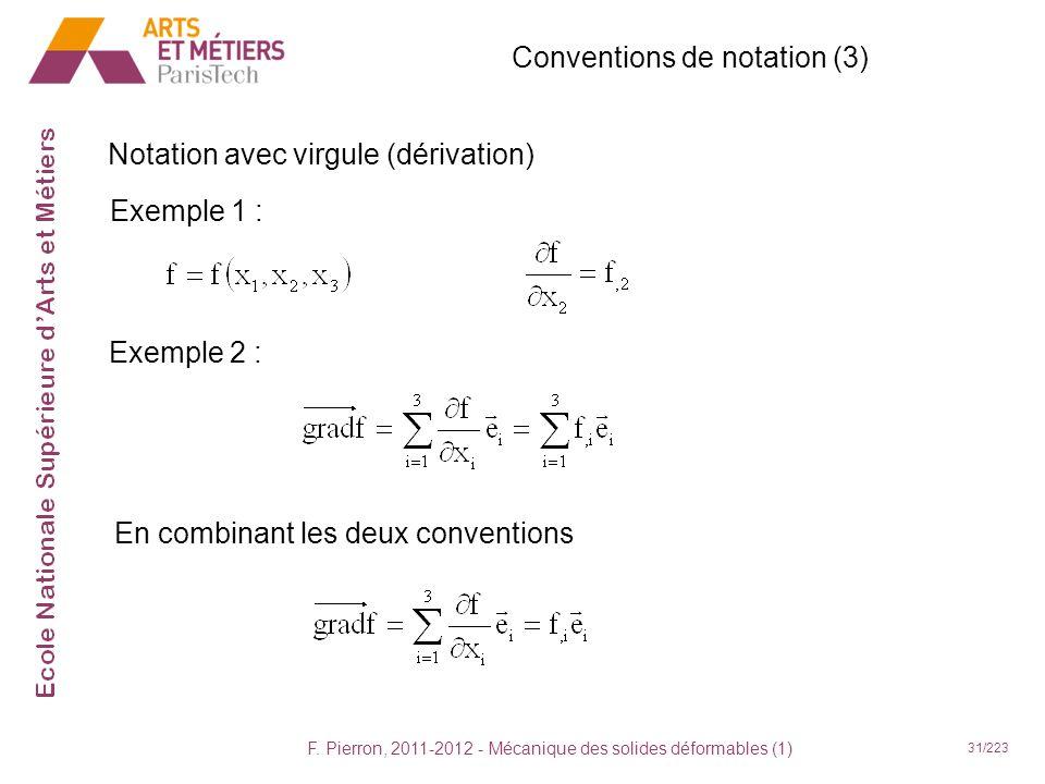 F. Pierron, 2011-2012 - Mécanique des solides déformables (1) 31/223 Conventions de notation (3) Exemple 1 : Exemple 2 : En combinant les deux convent