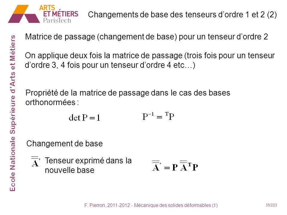 F. Pierron, 2011-2012 - Mécanique des solides déformables (1) 35/223 On applique deux fois la matrice de passage (trois fois pour un tenseur dordre 3,