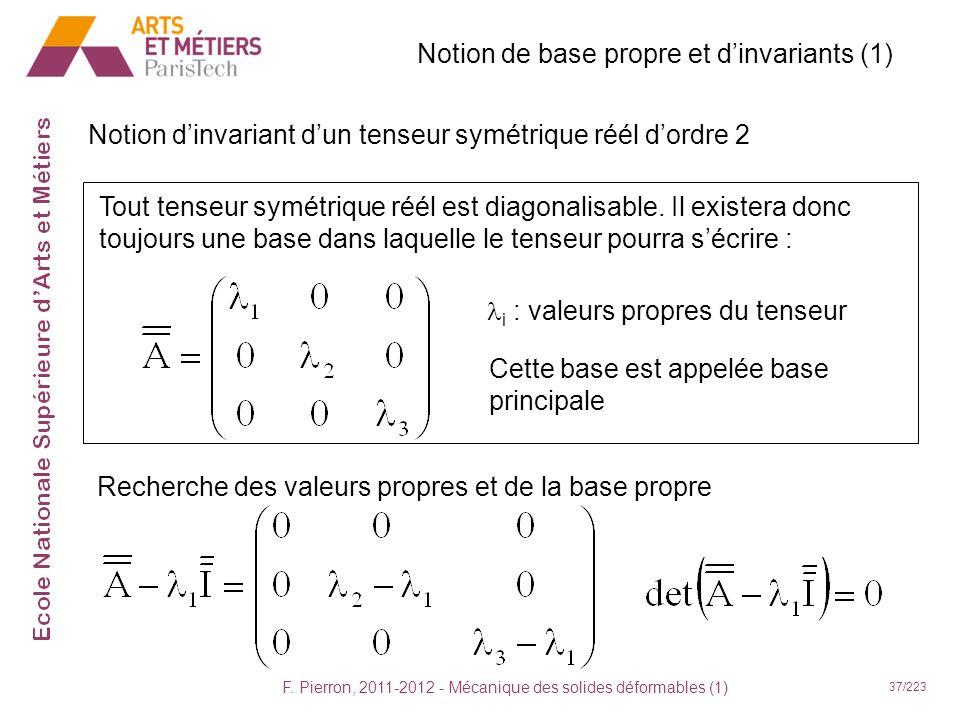 F. Pierron, 2011-2012 - Mécanique des solides déformables (1) 37/223 Notion dinvariant dun tenseur symétrique réél dordre 2 Notion de base propre et d