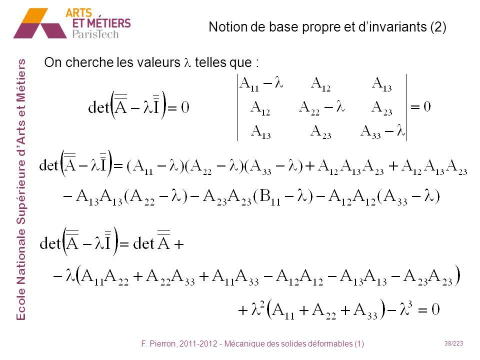 F. Pierron, 2011-2012 - Mécanique des solides déformables (1) 38/223 Notion de base propre et dinvariants (2) On cherche les valeurs telles que :
