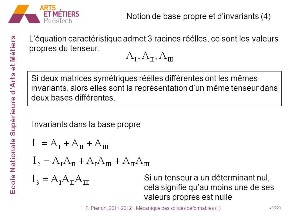 F. Pierron, 2011-2012 - Mécanique des solides déformables (1) 40/223 Notion de base propre et dinvariants (4) Léquation caractéristique admet 3 racine