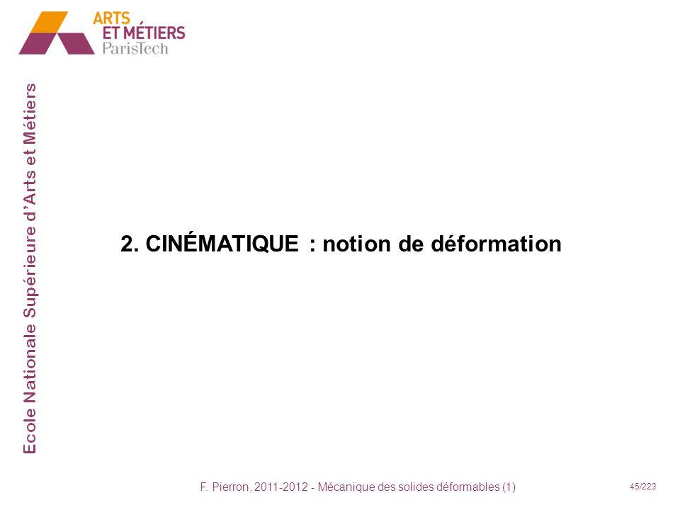 F. Pierron, 2011-2012 - Mécanique des solides déformables (1) 45/223 2. CINÉMATIQUE : notion de déformation
