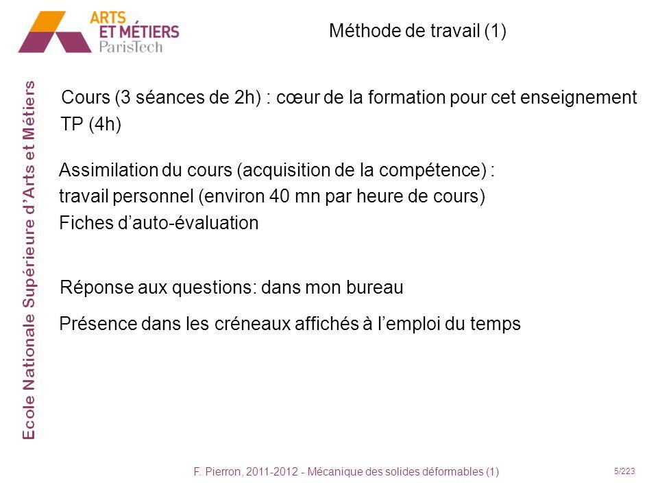 F. Pierron, 2011-2012 - Mécanique des solides déformables (1) 5/223 Méthode de travail (1) Cours (3 séances de 2h) : cœur de la formation pour cet ens