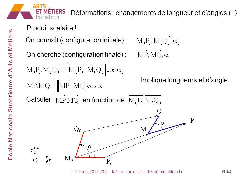 F. Pierron, 2011-2012 - Mécanique des solides déformables (1) 58/223 Déformations : changements de longueur et dangles (1) Produit scalaire ! On conna
